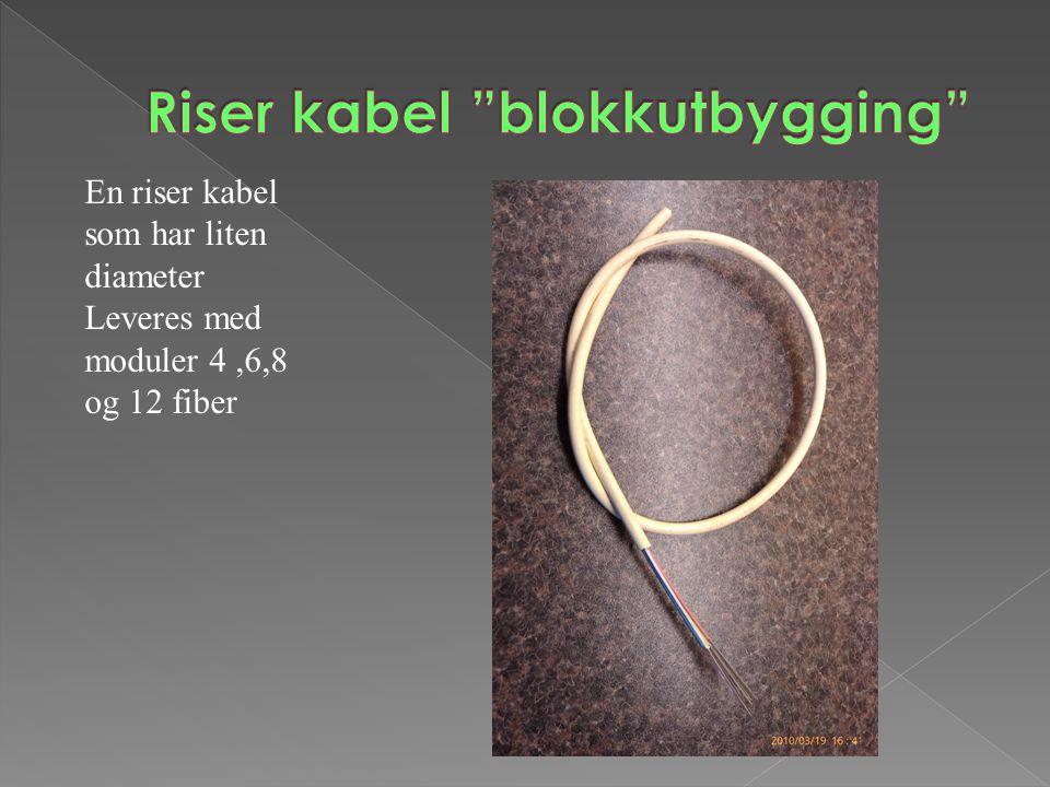 En riser kabel som har liten diameter Leveres med moduler 4,6,8 og 12 fiber