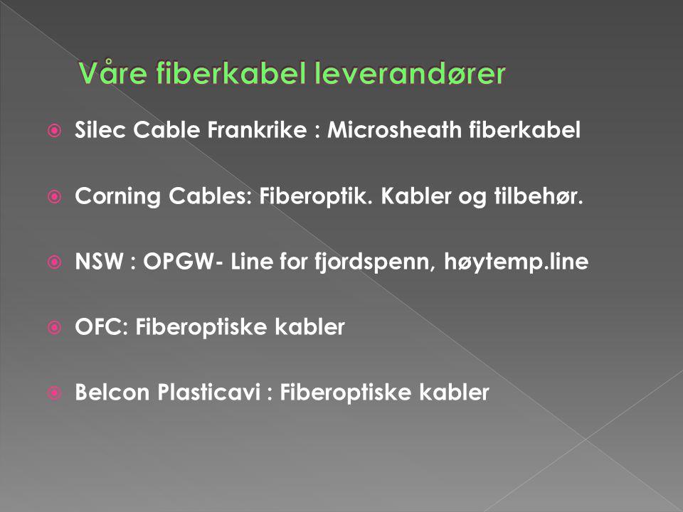  Silec Cable Frankrike : Microsheath fiberkabel  Corning Cables: Fiberoptik. Kabler og tilbehør.  NSW : OPGW- Line for fjordspenn, høytemp.line  O