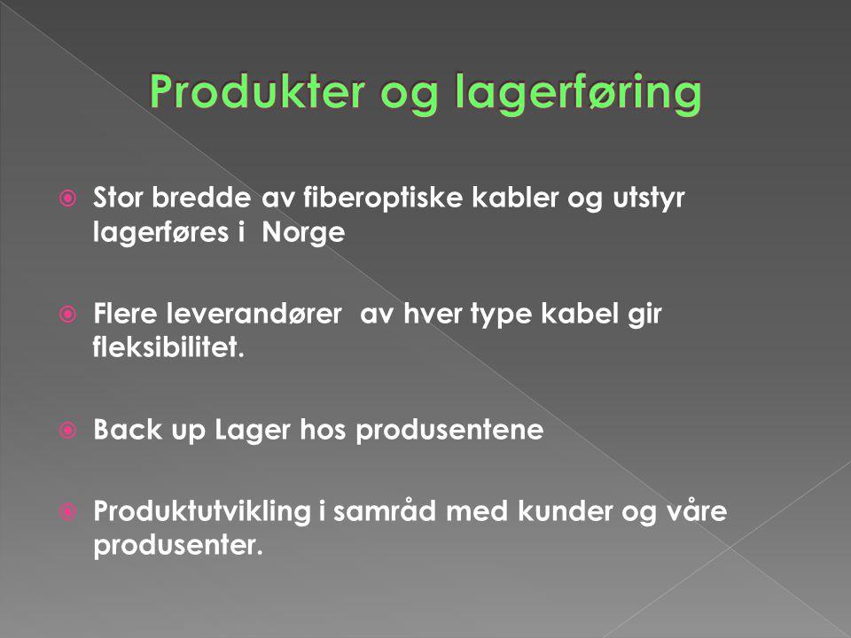  Stor bredde av fiberoptiske kabler og utstyr lagerføres i Norge  Flere leverandører av hver type kabel gir fleksibilitet.  Back up Lager hos produ
