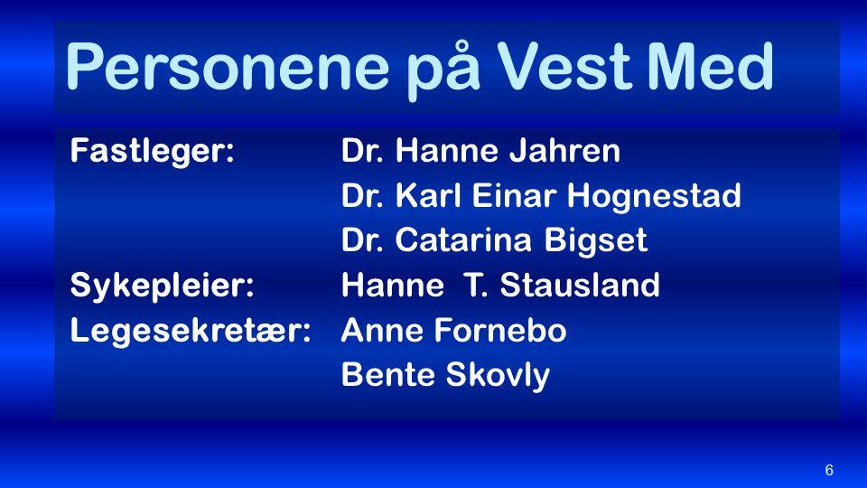 Personene på Vest Med Fastleger: Dr. Hanne Jahren Dr. Karl Einar Hognestad Dr. Catarina Bigset Sykepleier: Hanne T. Stausland Legesekretær: Anne Forne