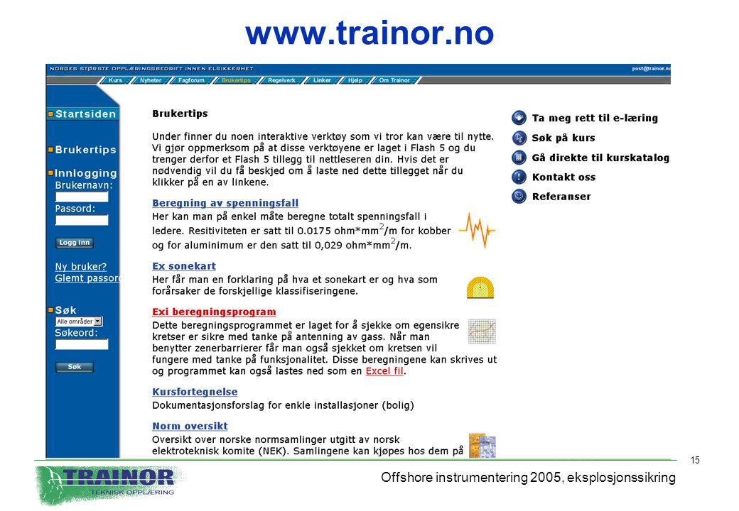 Offshore instrumentering 2005, eksplosjonssikring 15 www.trainor.no