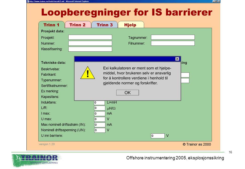 Offshore instrumentering 2005, eksplosjonssikring 16