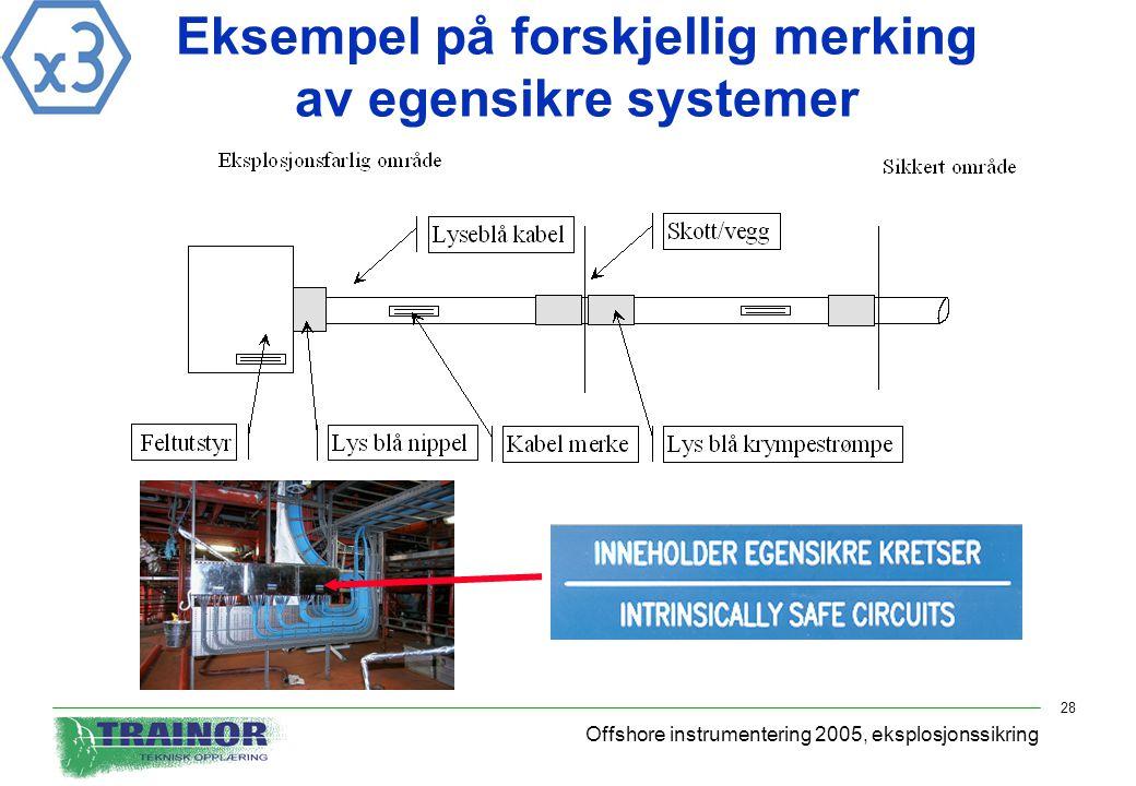 Offshore instrumentering 2005, eksplosjonssikring 28 Eksempel på forskjellig merking av egensikre systemer