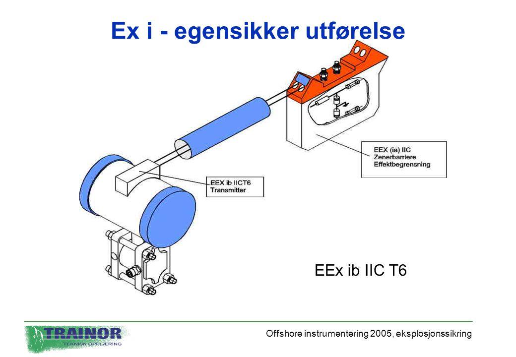 Offshore instrumentering 2005, eksplosjonssikring Ex i - egensikker utførelse EEx ib IIC T6