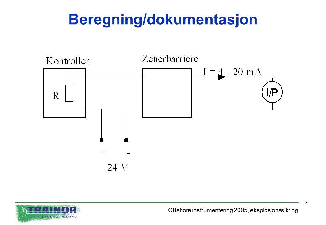 Offshore instrumentering 2005, eksplosjonssikring 9 Beregning/dokumentasjon