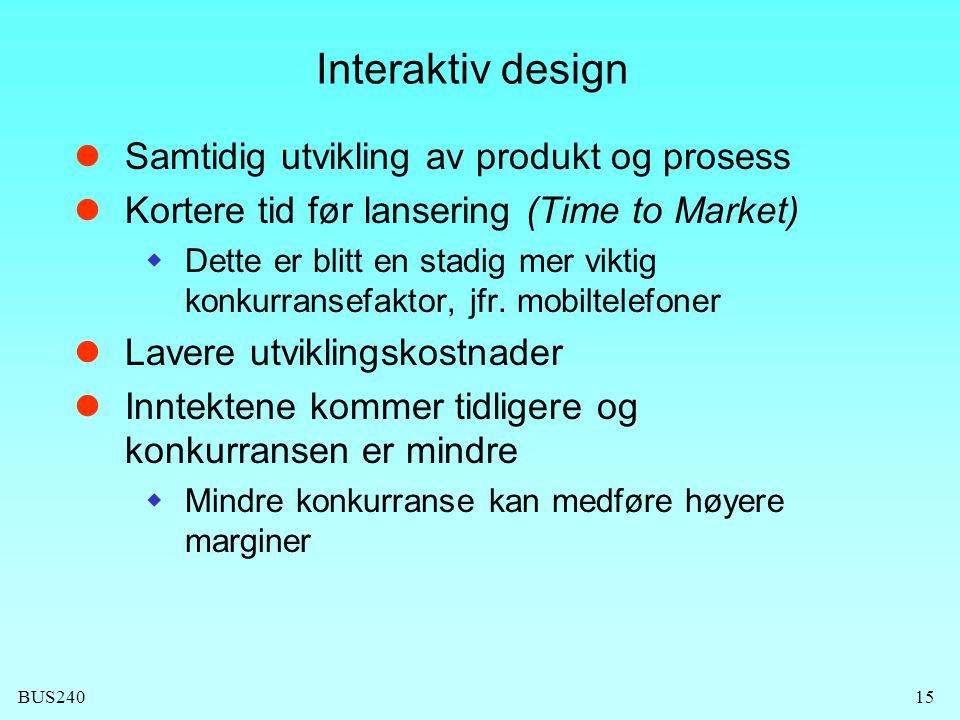 BUS24015 Interaktiv design  Samtidig utvikling av produkt og prosess  Kortere tid før lansering (Time to Market)  Dette er blitt en stadig mer vikt