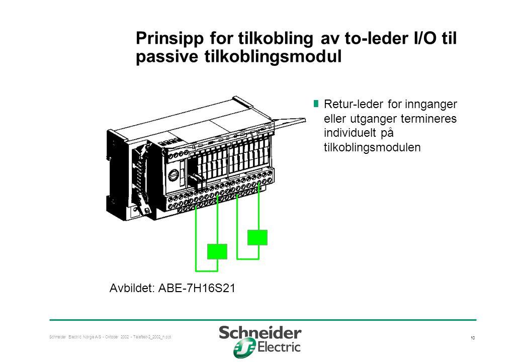 Schneider Electric Norge A/S - Oktober 2002 - Telefast-2_2002_n.ppt 10 Prinsipp for tilkobling av to-leder I/O til passive tilkoblingsmodul  Retur-le