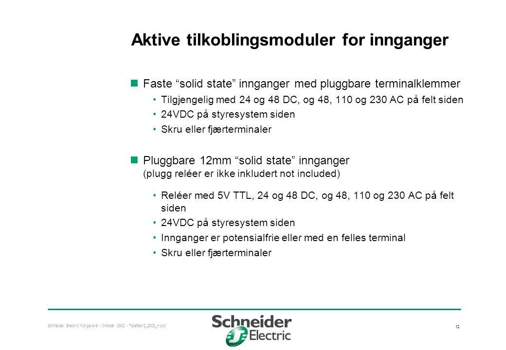 """Schneider Electric Norge A/S - Oktober 2002 - Telefast-2_2002_n.ppt 12 Aktive tilkoblingsmoduler for innganger  Faste """"solid state"""" innganger med plu"""