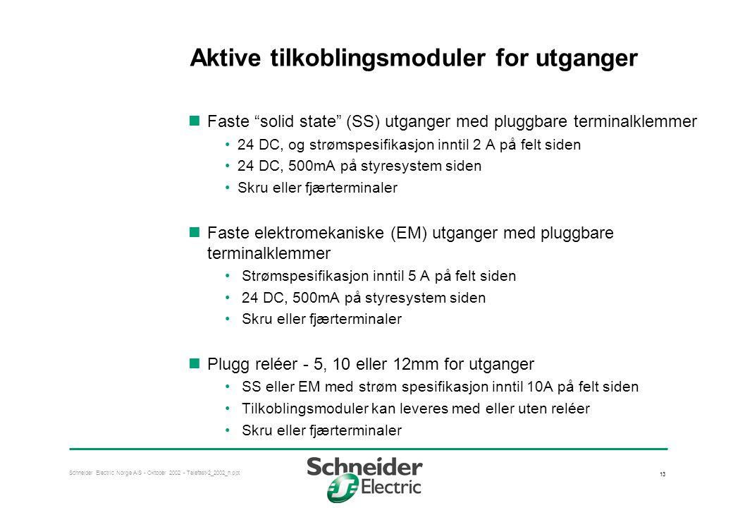 Schneider Electric Norge A/S - Oktober 2002 - Telefast-2_2002_n.ppt 13 Aktive tilkoblingsmoduler for utganger  Faste solid state (SS) utganger med pluggbare terminalklemmer •24 DC, og strømspesifikasjon inntil 2 A på felt siden •24 DC, 500mA på styresystem siden •Skru eller fjærterminaler  Faste elektromekaniske (EM) utganger med pluggbare terminalklemmer • Strømspesifikasjon inntil 5 A på felt siden • 24 DC, 500mA på styresystem siden • Skru eller fjærterminaler  Plugg reléer - 5, 10 eller 12mm for utganger • SS eller EM med strøm spesifikasjon inntil 10A på felt siden • Tilkoblingsmoduler kan leveres med eller uten reléer • Skru eller fjærterminaler
