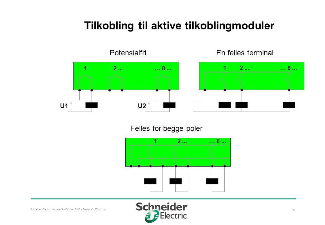Schneider Electric Norge A/S - Oktober 2002 - Telefast-2_2002_n.ppt 15 Tilkobling til aktive tilkoblingmoduler U1U2 12...… 8... PotensialfriEn felles