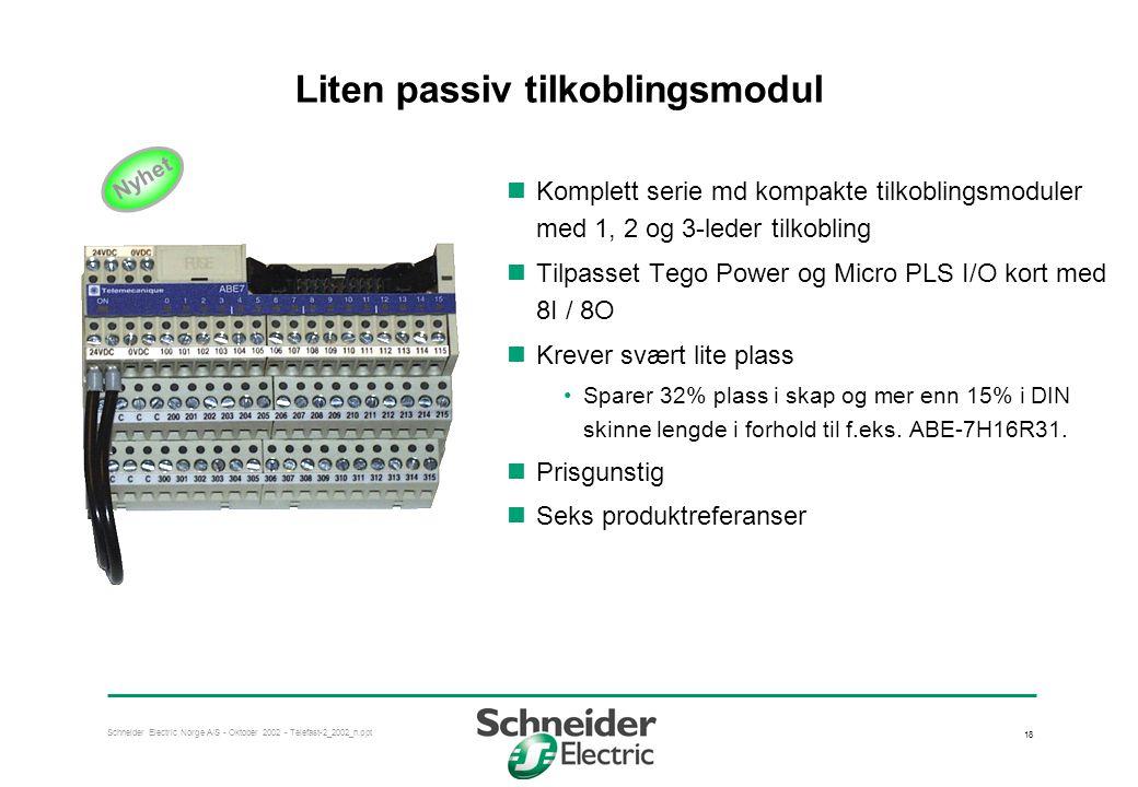 Schneider Electric Norge A/S - Oktober 2002 - Telefast-2_2002_n.ppt 18 Liten passiv tilkoblingsmodul  Komplett serie md kompakte tilkoblingsmoduler m