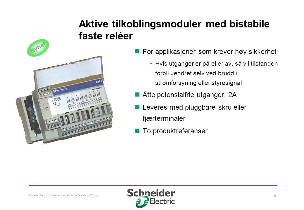 Schneider Electric Norge A/S - Oktober 2002 - Telefast-2_2002_n.ppt 20 Aktive tilkoblingsmoduler med bistabile faste reléer  For applikasjoner som krever høy sikkerhet •Hvis utganger er på eller av, så vil tilstanden forbli uendret selv ved brudd i strømforsyning eller styresignal  Åtte potensialfrie utganger, 2A  Leveres med pluggbare skru eller fjærterminaler  To produktreferanser Nyhet