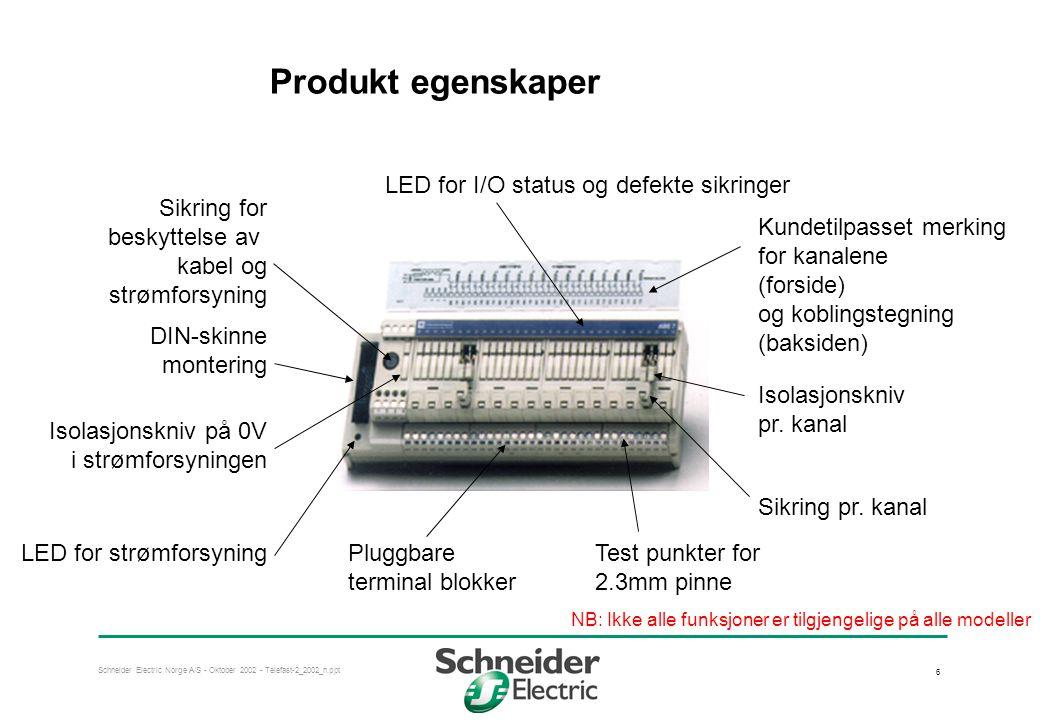 Schneider Electric Norge A/S - Oktober 2002 - Telefast-2_2002_n.ppt 7 Telefast tilkobling til mange PLS systemer  Schneider Electric •TSX Premium •TSX Micro •TSX Series 7 •April S5000/7000 •Quantum •Compact •NUM 1020/1060 •Tego Power og Tego Dial  Siemens •S7-200/300/400 •S5 (95U to 155U)  Allen Bradley •SLC 500