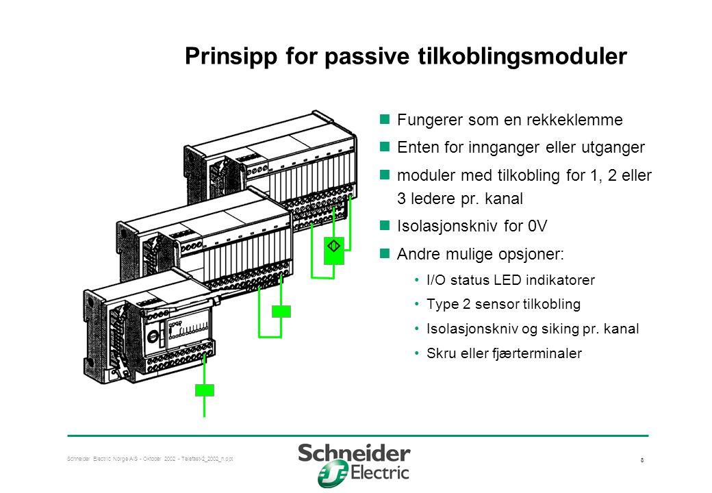 Schneider Electric Norge A/S - Oktober 2002 - Telefast-2_2002_n.ppt 9 Prinsipp for tilkobling av en-leder I/O til passive tilkoblingsmodul  Felles retur-leder for inganger eller utganger Avbildet: økonomiversjonen ABE-7H..E...