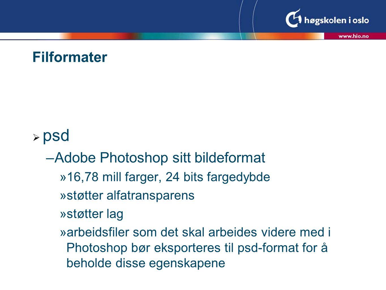Filformater  psd –Adobe Photoshop sitt bildeformat  16,78 mill farger, 24 bits fargedybde  støtter alfatransparens  støtter lag  arbeidsfiler som det skal arbeides videre med i Photoshop bør eksporteres til psd-format for å beholde disse egenskapene