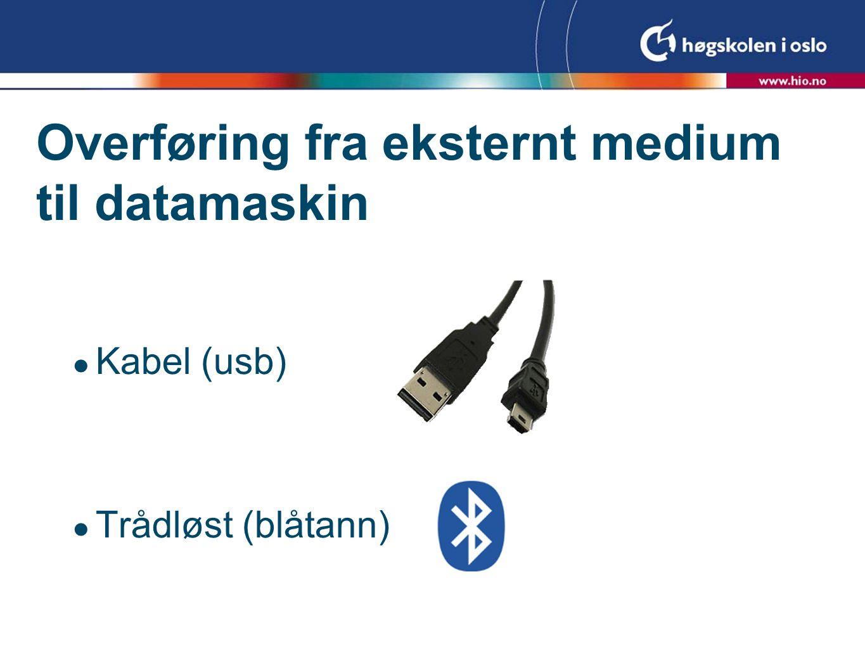 USB  Så godt som alle digitale kamera kan brukes sammen med USB-kabel  Mange mobiltelefonmodeller har også denne muligheten  Det går forholdsvis raskt å overføre bilder til maskin