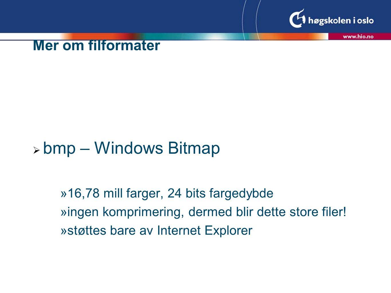 Mer om filformater  bmp – Windows Bitmap  16,78 mill farger, 24 bits fargedybde  ingen komprimering, dermed blir dette store filer.