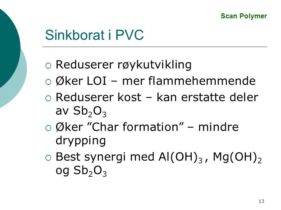 13 Sinkborat i PVC  Reduserer røykutvikling  Øker LOI – mer flammehemmende  Reduserer kost – kan erstatte deler av Sb 2 O 3  Øker Char formation – mindre drypping  Best synergi med Al(OH) 3, Mg(OH) 2 og Sb 2 O 3 Scan Polymer