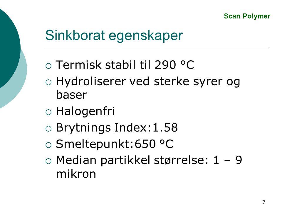 7 Sinkborat egenskaper  Termisk stabil til 290 °C  Hydroliserer ved sterke syrer og baser  Halogenfri  Brytnings Index:1.58  Smeltepunkt:650 °C  Median partikkel størrelse: 1 – 9 mikron Scan Polymer