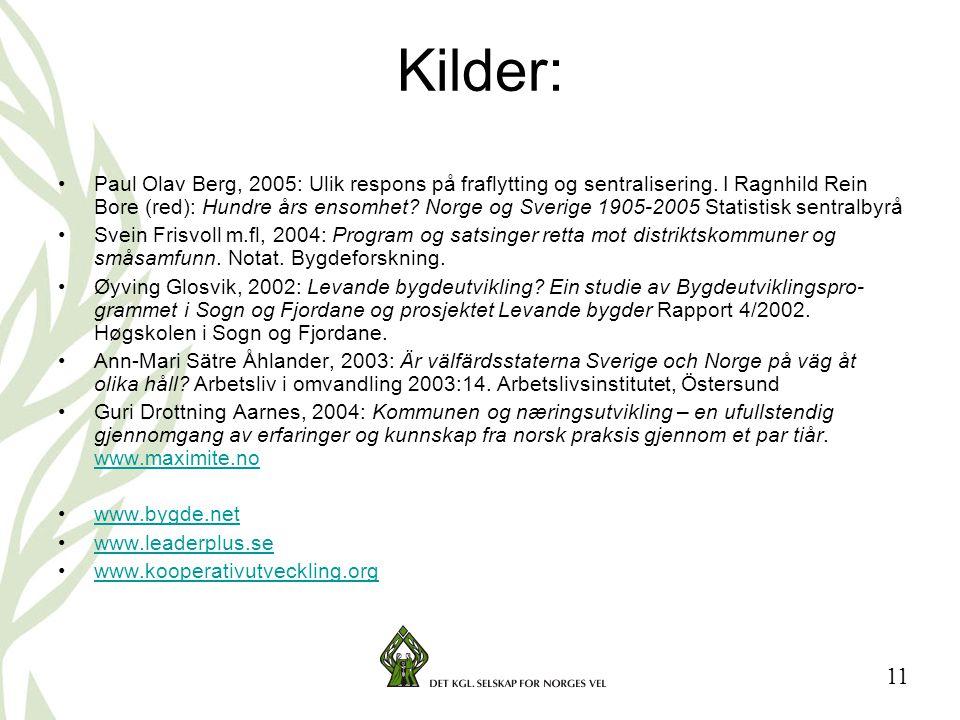 11 Kilder: •Paul Olav Berg, 2005: Ulik respons på fraflytting og sentralisering. I Ragnhild Rein Bore (red): Hundre års ensomhet? Norge og Sverige 190