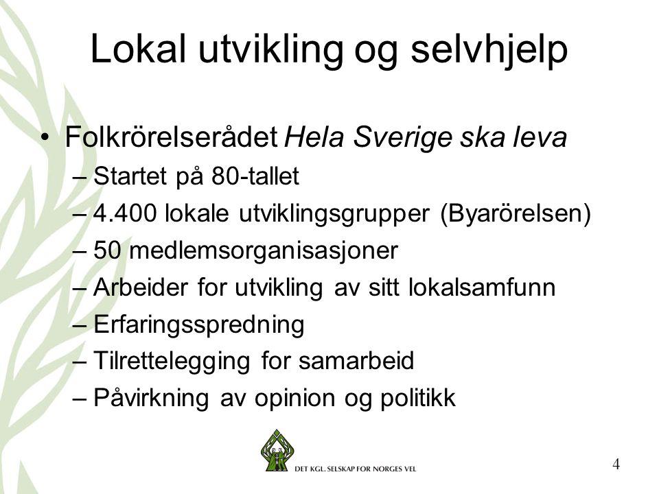 4 Lokal utvikling og selvhjelp •Folkrörelserådet Hela Sverige ska leva –Startet på 80-tallet –4.400 lokale utviklingsgrupper (Byarörelsen) –50 medlems