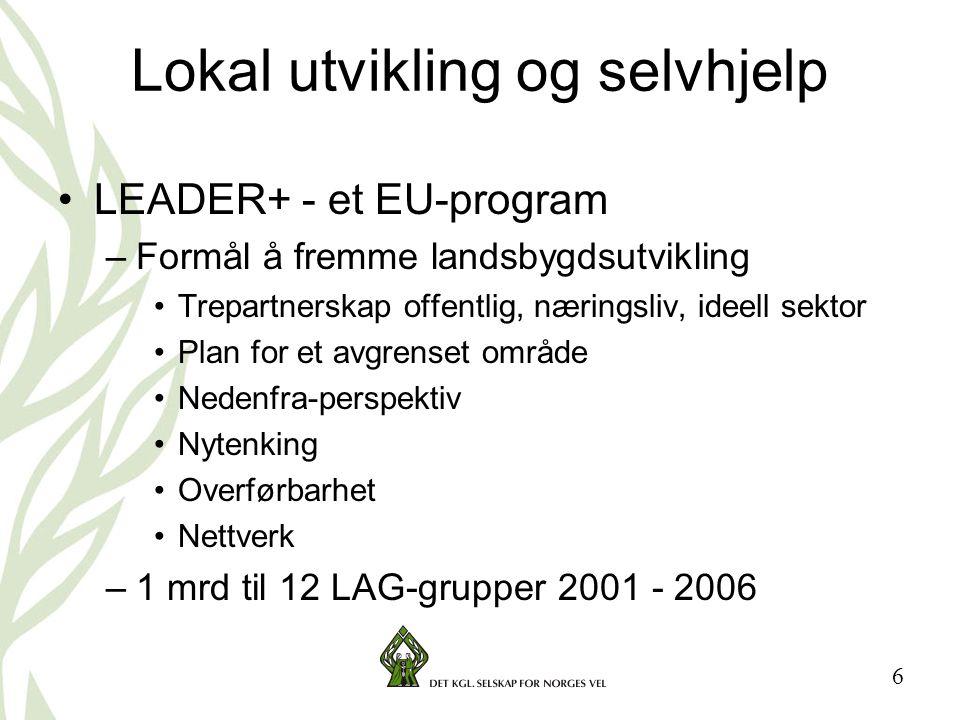 6 Lokal utvikling og selvhjelp •LEADER+ - et EU-program –Formål å fremme landsbygdsutvikling •Trepartnerskap offentlig, næringsliv, ideell sektor •Plan for et avgrenset område •Nedenfra-perspektiv •Nytenking •Overførbarhet •Nettverk –1 mrd til 12 LAG-grupper 2001 - 2006