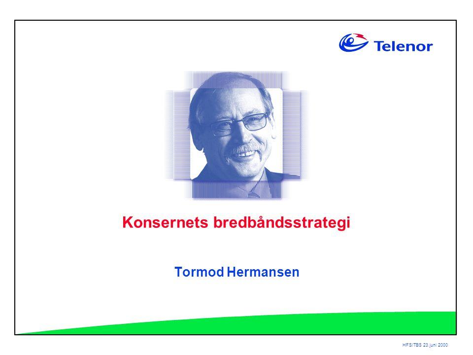 HFS/TBS 23.juni 2000 Konsernets bredbåndsstrategi Tormod Hermansen