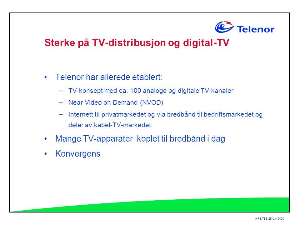 HFS/TBS 29.juni 2000 Sterke på TV-distribusjon og digital-TV •Telenor har allerede etablert: –TV-konsept med ca.