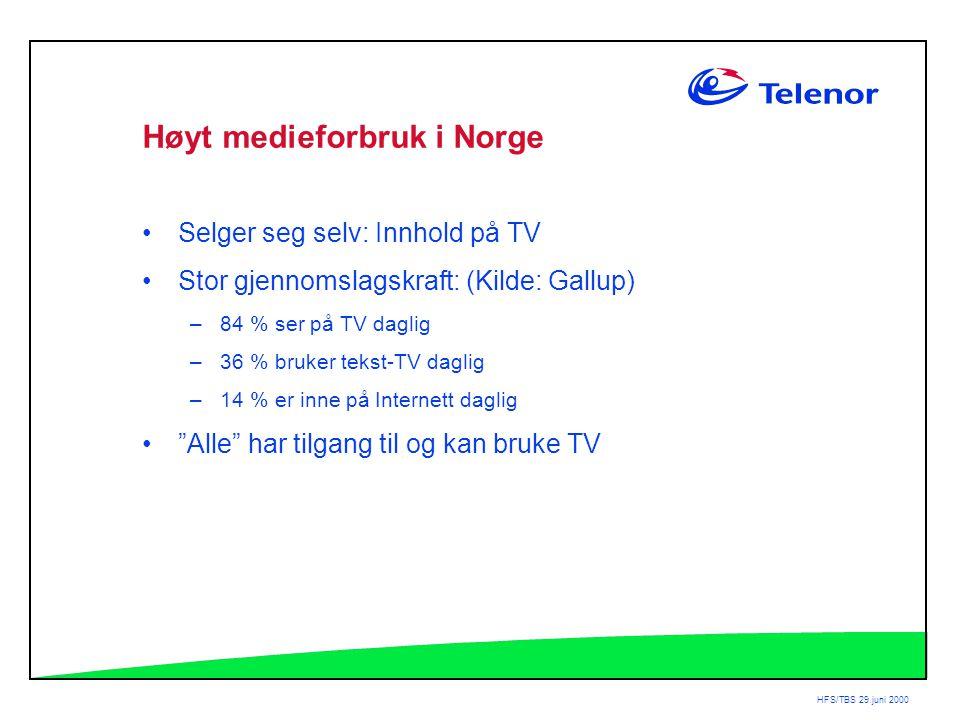 HFS/TBS 29.juni 2000 Høyt medieforbruk i Norge •Selger seg selv: Innhold på TV •Stor gjennomslagskraft: (Kilde: Gallup) –84 % ser på TV daglig –36 % bruker tekst-TV daglig –14 % er inne på Internett daglig • Alle har tilgang til og kan bruke TV