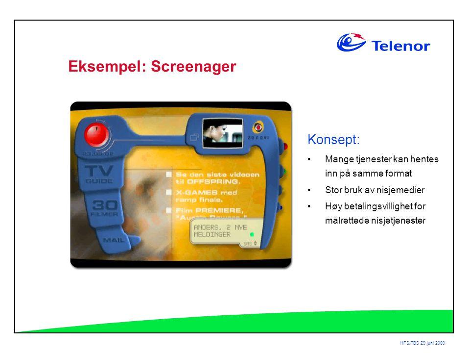 HFS/TBS 29.juni 2000 Eksempel: Screenager Konsept: •Mange tjenester kan hentes inn på samme format •Stor bruk av nisjemedier •Høy betalingsvillighet for målrettede nisjetjenester