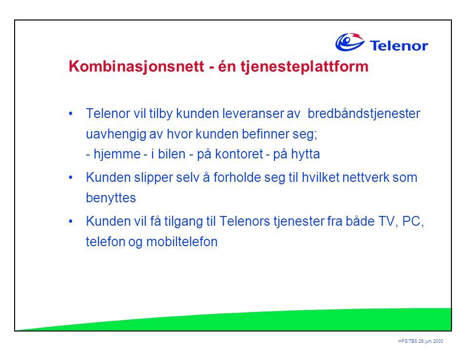 HFS/TBS 29.juni 2000 Kombinasjonsnett - én tjenesteplattform •Telenor vil tilby kunden leveranser av bredbåndstjenester uavhengig av hvor kunden befinner seg; - hjemme - i bilen - på kontoret - på hytta •Kunden slipper selv å forholde seg til hvilket nettverk som benyttes •Kunden vil få tilgang til Telenors tjenester fra både TV, PC, telefon og mobiltelefon
