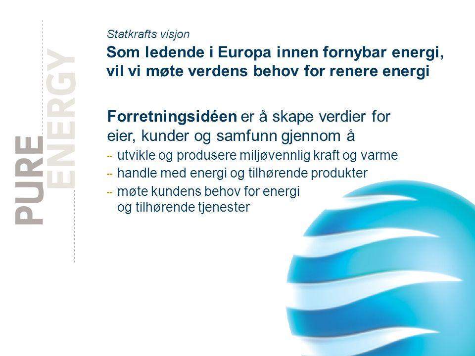 side 4 Statkrafts visjon Som ledende i Europa innen fornybar energi, vil vi møte verdens behov for renere energi Forretningsidéen er å skape verdier for eier, kunder og samfunn gjennom å utvikle og produsere miljøvennlig kraft og varme handle med energi og tilhørende produkter møte kundens behov for energi og tilhørende tjenester
