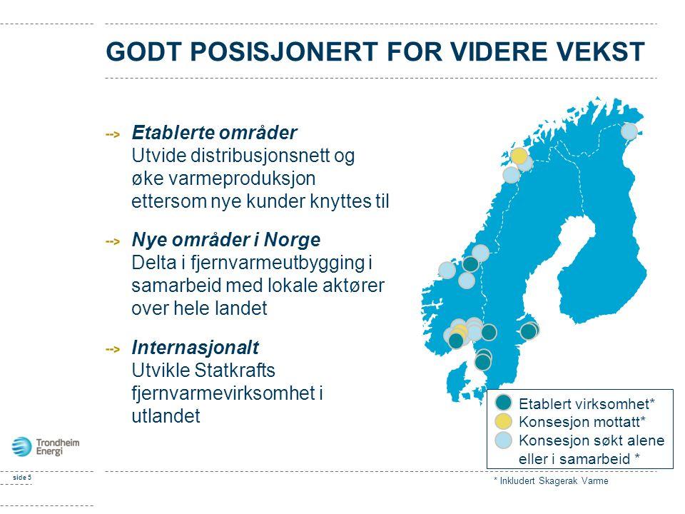 side 5 GODT POSISJONERT FOR VIDERE VEKST Etablerte områder Utvide distribusjonsnett og øke varmeproduksjon ettersom nye kunder knyttes til Nye områder