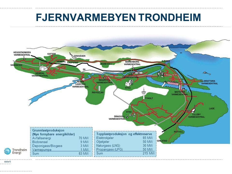 side 6 FJERNVARMEBYEN TRONDHEIM Grunnlastproduksjon (Nye fornybare energikilder) Avfallsenergi70 MW Biobrensel 9 MW Deponigass/Biogass 3 MW Varmepumpe