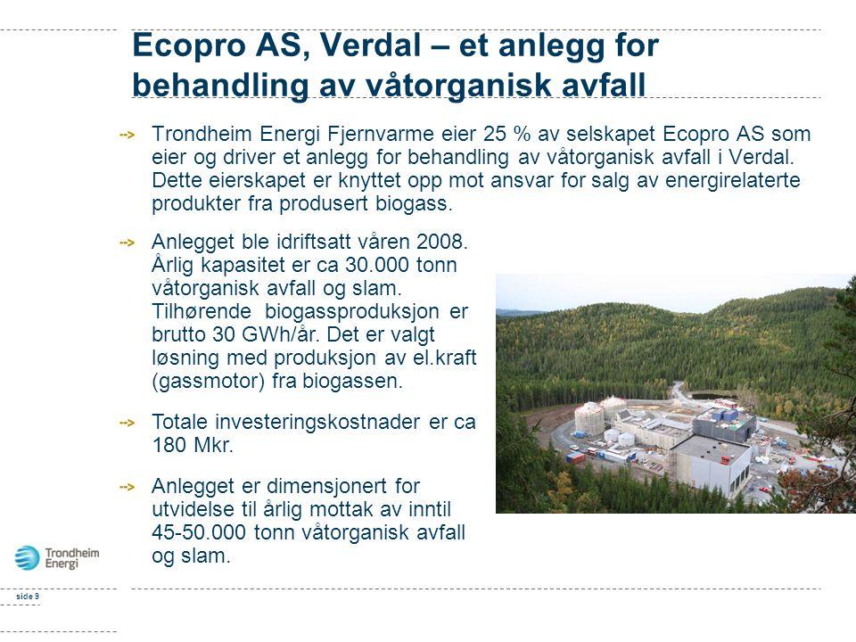 side 9 Ecopro AS, Verdal – et anlegg for behandling av våtorganisk avfall Trondheim Energi Fjernvarme eier 25 % av selskapet Ecopro AS som eier og driver et anlegg for behandling av våtorganisk avfall i Verdal.