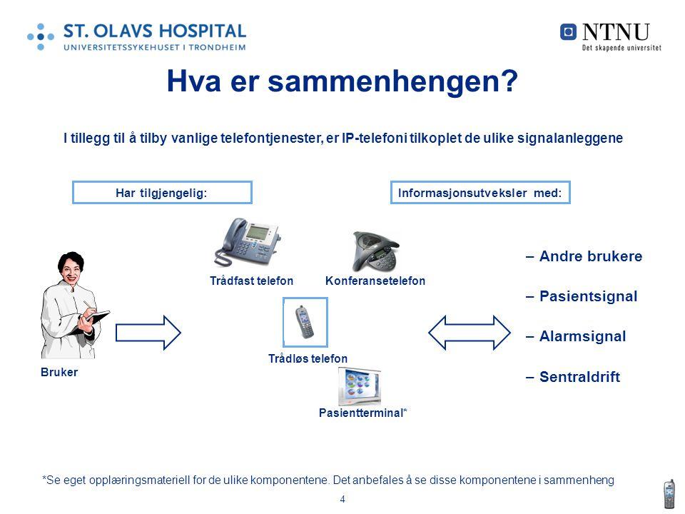 4 Hva er sammenhengen? –Andre brukere –Pasientsignal –Alarmsignal –Sentraldrift *Se eget opplæringsmateriell for de ulike komponentene. Det anbefales