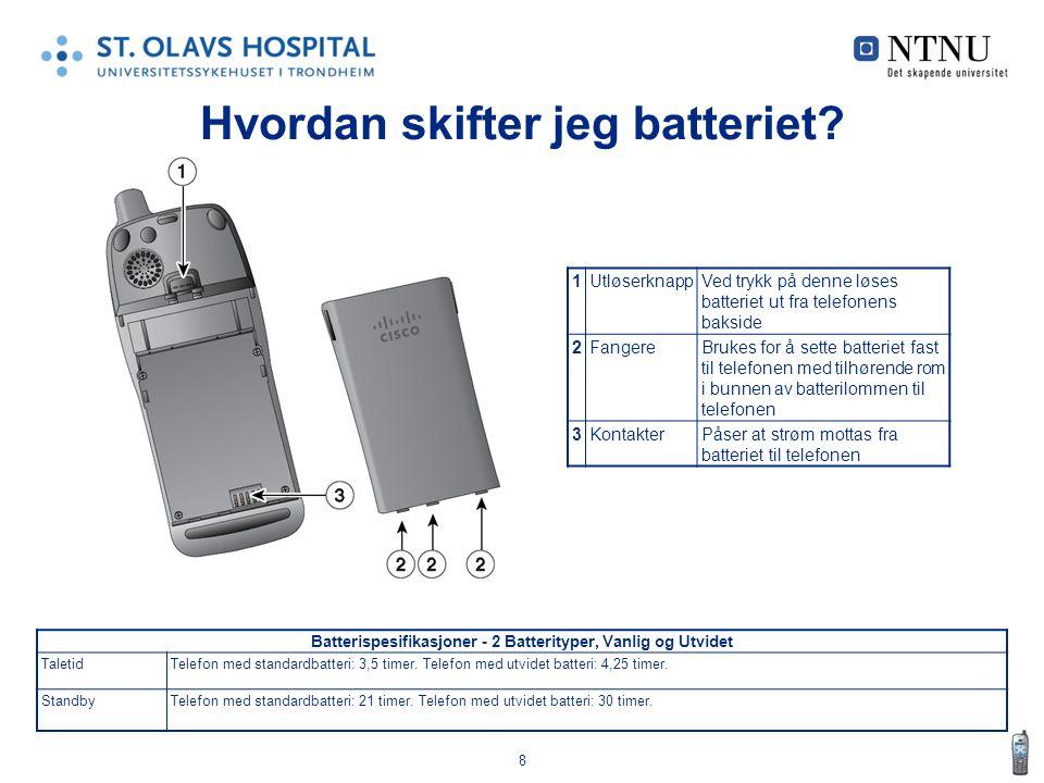 8 Hvordan skifter jeg batteriet? Batterispesifikasjoner - 2 Batterityper, Vanlig og Utvidet TaletidTelefon med standardbatteri: 3,5 timer. Telefon med