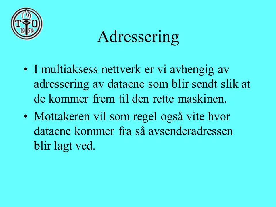 Adressering •I multiaksess nettverk er vi avhengig av adressering av dataene som blir sendt slik at de kommer frem til den rette maskinen. •Mottakeren