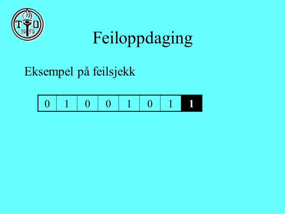 Feiloppdaging Eksempel på feilsjekk 01001011