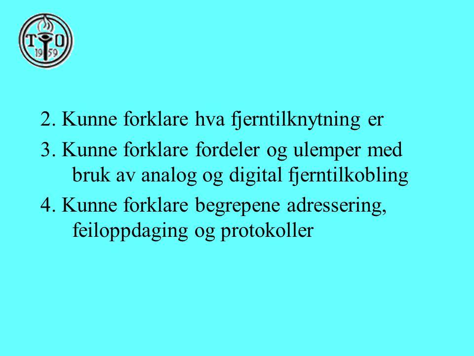 2. Kunne forklare hva fjerntilknytning er 3. Kunne forklare fordeler og ulemper med bruk av analog og digital fjerntilkobling 4. Kunne forklare begrep