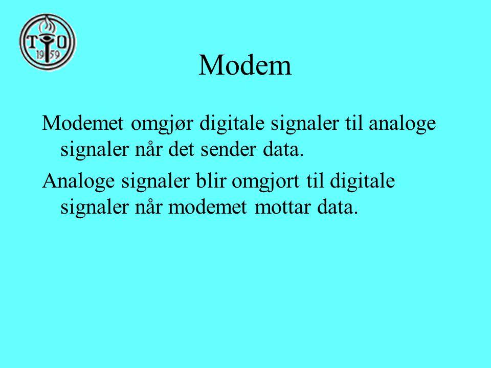Modem Modemet omgjør digitale signaler til analoge signaler når det sender data. Analoge signaler blir omgjort til digitale signaler når modemet motta
