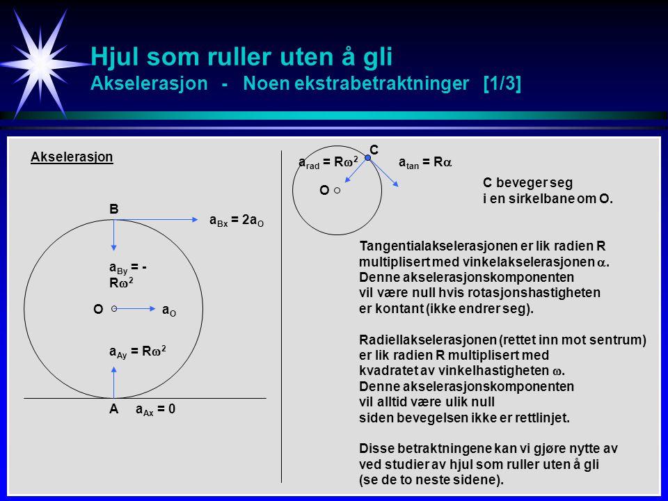 Hjul som ruller uten å gli Akselerasjon - Noen ekstrabetraktninger [1/3] B A O Akselerasjon a Bx = 2a O aOaO a Ax = 0 a By = - R  2 a Ay = R  2 O a