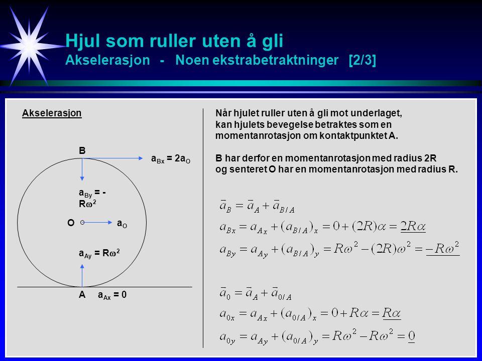 Hjul som ruller uten å gli Akselerasjon - Noen ekstrabetraktninger [2/3] B A O Akselerasjon a Bx = 2a O aOaO a Ax = 0 a By = - R  2 a Ay = R  2 Når