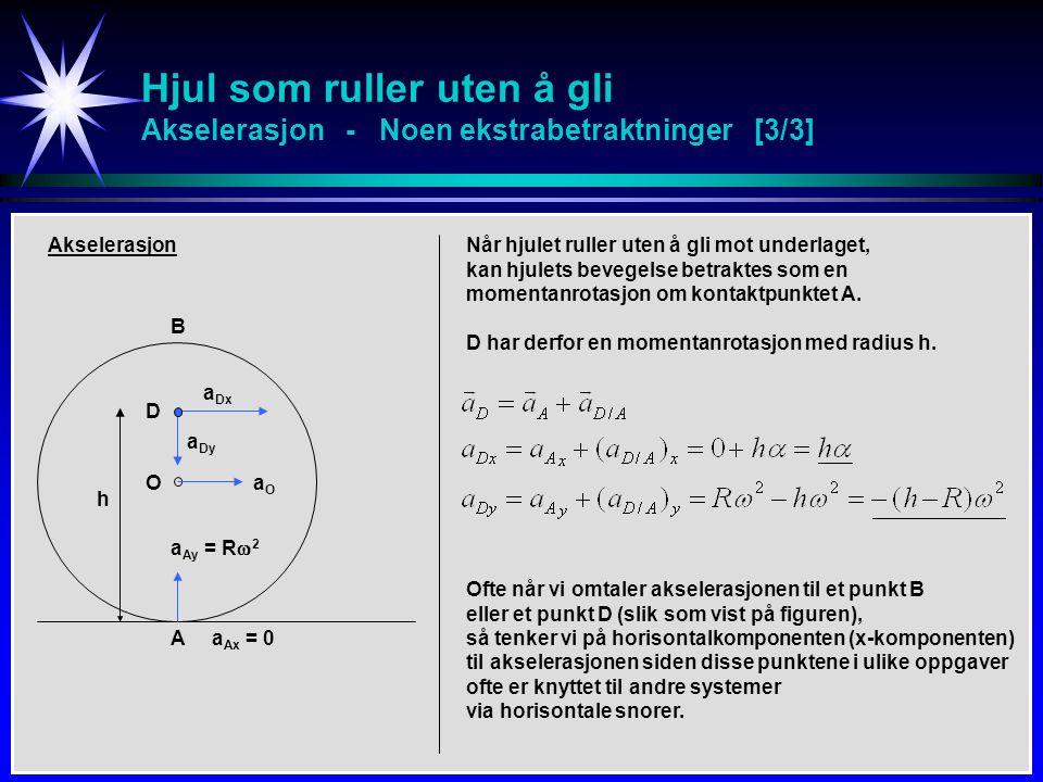 Hjul som ruller uten å gli Akselerasjon - Noen ekstrabetraktninger [3/3] D A O Akselerasjon aDxaDx aOaO a Ax = 0 aDyaDy a Ay = R  2 Når hjulet ruller