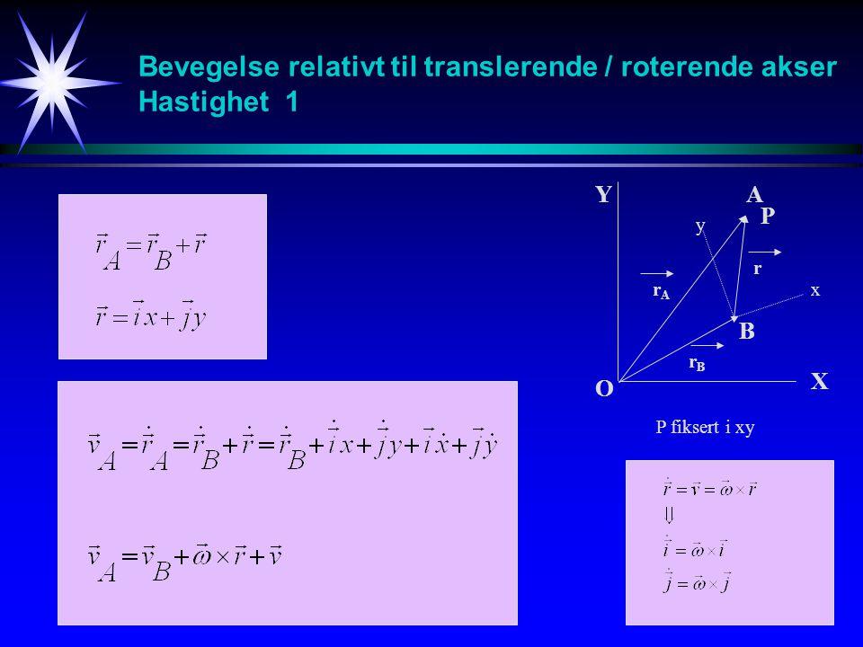P fiksert i xy Bevegelse relativt til translerende / roterende akser Hastighet 1 A B O Y X x y r rArA rBrB P