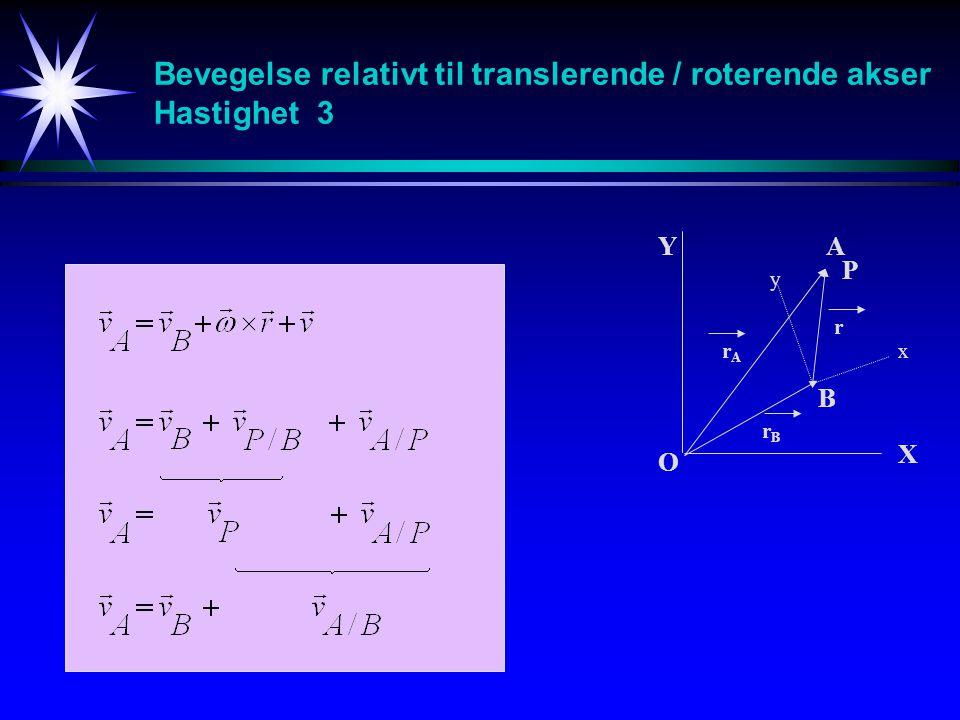 Bevegelse relativt til translerende / roterende akser Hastighet 3 A B O Y X x y r rArA rBrB P