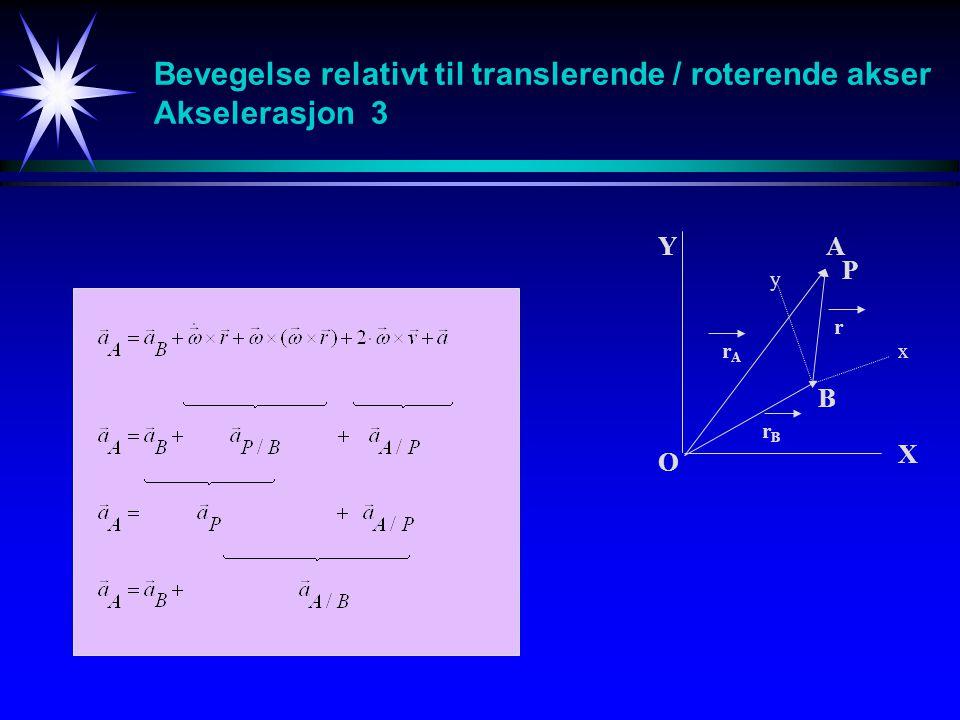 Bevegelse relativt til translerende / roterende akser Akselerasjon 3 A B O Y X x y r rArA rBrB P