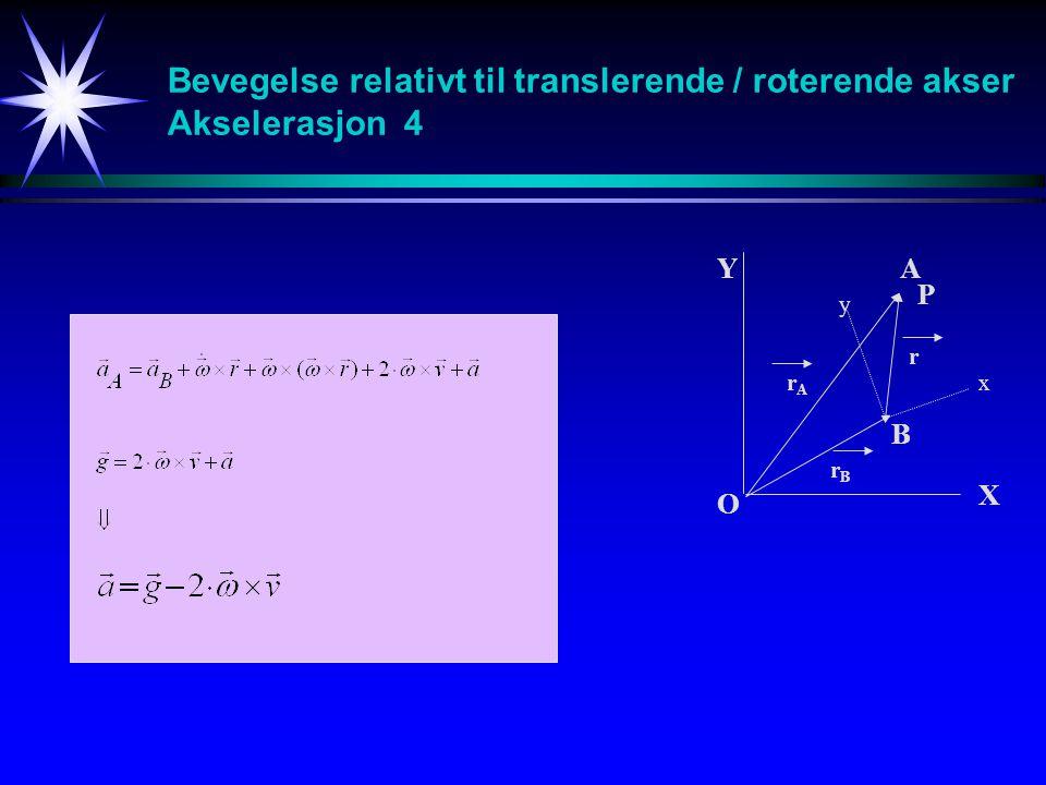 Bevegelse relativt til translerende / roterende akser Akselerasjon 4 A B O Y X x y r rArA rBrB P
