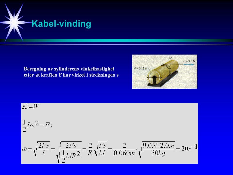 Kabel-vinding Beregning av sylinderens vinkelhastighet etter at kraften F har virket i strekningen s