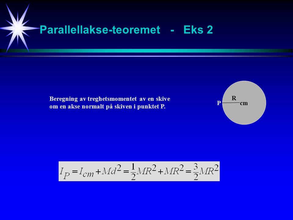 Parallellakse-teoremet - Eks 2 cm P R Beregning av treghetsmomentet av en skive om en akse normalt på skiven i punktet P.